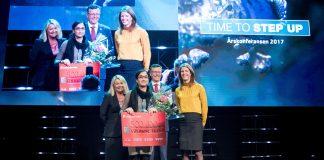 Vinneren av Idékonkurransen 2917, Dr. Naureen Akthar ved Universitetet i Bergen, mottok prisen fra Næringsminister Monica Mæland (H) den 17. november (Foto: Bergen Næringsråd).