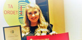 Aleksandra Olsen (17), vant talekonkurransen «Ta Ordet», med sin tale om organdonasjon. (Foto: Nils Olav Sæverås)